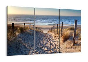 """Leinwandbild - 165x110 cm - """"Das Rauschen des Meeres, das Singen von Vögeln, ein wilder Strand zwischen den Gräsern ...""""- Wandbilder - Meer Strand Dünen  - Arttor - CE165x110-3612"""