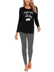 Damen Gestreifte Pyjamas Set Lässige Langarm Oberteile+Hosen Homewear-Anzug Schlafanzüge,Farbe:Schwarz,Größe:L