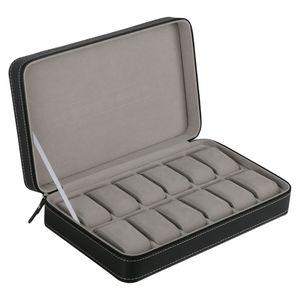 12 Grid Kunstleder, Samt Uhr Box Kunstleder Organizer Aufbewahrungskoffer mit abnehmbarem Kissen