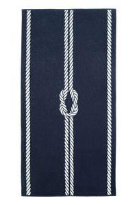 Strandtuch XXL aus Baumwolle, 100x200 cm, marine-weiß