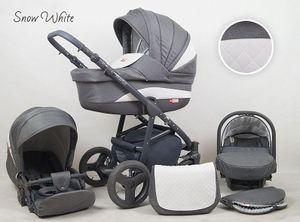 Kinderwagen Marlux, 3 in 1 - Set Wanne Buggy Babyschale Autositz (Snow White)