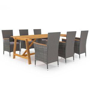 Gartenmöbel Essgruppe 6 Personen ,7-TLG. Terrassenmöbel Balkonset Sitzgruppe: Tisch mit 6 Stühle, Grau❀5914
