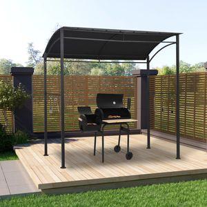 BBQ-Pavillon/Grillpavillon mit 10 Haken 215x150x220 cm Anthrazit Stahl☆9306