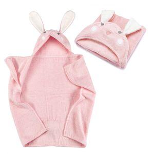 Kapuzenhandtuch - Hase Baby Handtuch mit Kapuze - Badeponcho Kinder Poncho aus Frottee