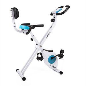 Klarfit Azura Heimtrainer Fahrradtrainer mit Trainingscomputer (zusammenklappbar, gut ablesbares LCD-Display, integrierter Pulsmesser, max. 100 kg, 8 Trainingsstufen, Verstellbarer Sattel) weiß & blau