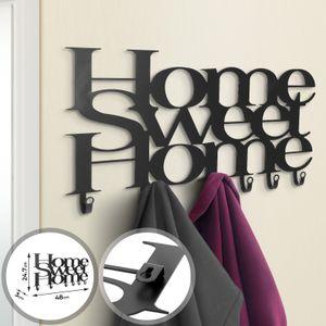 MIADOMODO® Wandgarderobe - 48 x 24,7 x 3 cm, 6 Haken, aus metall, modern, matt Schwarz, ''Home Sweet Home'' Design - Garderobenhaken, Wandhaken, Mehrzweckhaken, Kleiderhaken, Hakenleiste