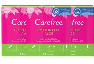 Carefree Slipeinlagen Baumwolle Feel Aloe Vera Damenbinden Frische 5 x 56 Stück S/M