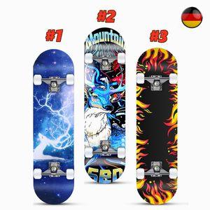 SOGOODS Skateboard Funboard Holzboard komplett 80x20cm Ahornholz Motiv/Rolle Auswahl bis100kg,#2(Hirsch dj)