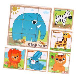 9pcs / set Holzwürfel Block Puzzle Tier Puzzle Spielzeug für Kinder im
