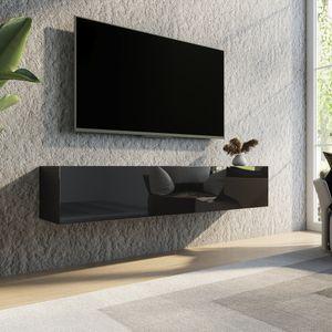 TV Lowboard Hängend stehend Wand Hängeboard Wohnzimmer Wandschrank Fernsehstand Schrank 160cm Möbel Speicherung mit Hochglanz & Holz Schwarz