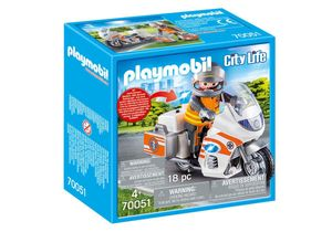 PLAYMOBIL Notarzt-Motorrad mit Blinklicht, 70051
