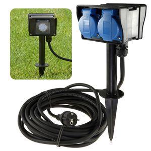 Gartensteckdose 2-fach Schuko mit Zeitschaltuhr & Erdspieß für Außen IP44 - Kabel 10m