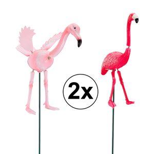 2er Set Gartenstecker Wackel Flamingo, 70cmH