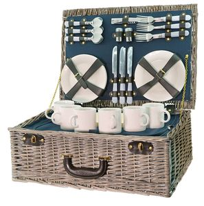Smak Picknickkorb: aus Weide   Thermoisoliert   kühltasche   isoliert   Picknick-Set   6 Personen   geflochten   Picknickkorb   Geschirr gefüllt   Deckel