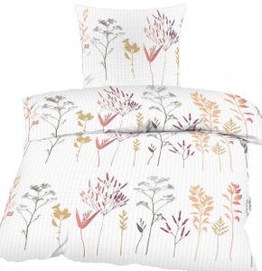 Seersucker Bettwäsche 135x200 +80x80 cm, weiß, Stauden Blüten, bügelfrei, Microfaser