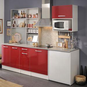 Singleküche Spectra 3 rot Hochglanz 7-teilig 245x208x60 cm Küchenzeile