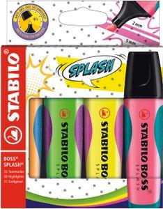 Textmarker - STABILO BOSS SPLASH - 4er Pack - gelb, orange, grün, pink