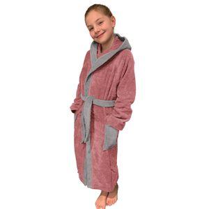 Kinder Frottee Bademantel aus 100% Baumwolle für Mädchen und Jungen Altrose/ Hellgrau 152