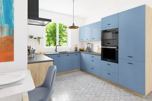 U-Form Küchenzeile mit Homeslim-Auszug bergesche himmelblau