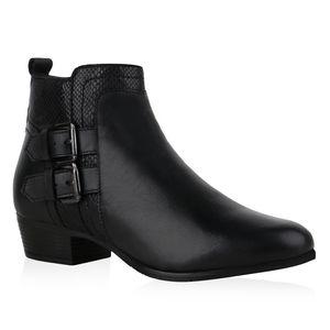 Mytrendshoe Damen Ankle Boots Stiefeletten Schnallen Prints Schuhe 835997, Farbe: Schwarz Snake, Größe: 40