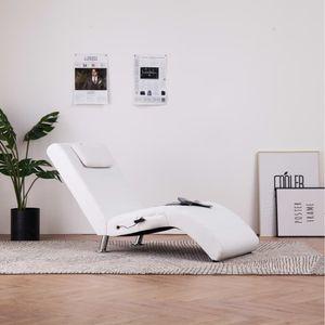Massage Relaxsessel Relaxliege Liegesessel Loungesessel Chaiselongue mit Kissen Weiß Kunstleder, size:144 x 59 x 79 cm