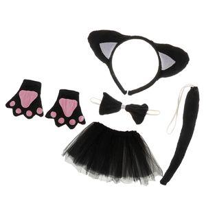 Tierkostüm 5tlg. Katze Stirnband Fliege Handschuhe Schwanz Tutu Rock Katze Kostüm Set Karnevalskostüme Tiere Faschingskostüm Tierkostüm