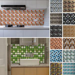 10 Stück 3D Selbstklebende Mosaikfliesen Aufkleber Wandaufkleber Nachbildung,Farbe: Blau,Größe:10X10cm