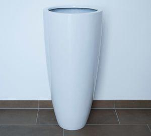Fiberglas-Blumenkübel rund-konisch (D30xH60cm) in Hochglanzweiß