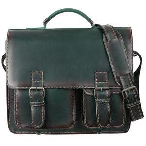 Greenburry Buffalo 1128/NB-30 Leder Aktentasche mit Notebookfach Grün