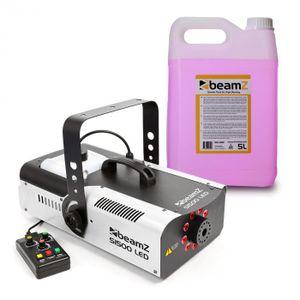 beamZ S1500LED Nebelmaschine mit LED - DMX , 1500 W , 9 x 3 W , 2.5 Liter Tank , Intervall, Dauer und Intensität einstellbar , inkl. 5-Liter-Nebelfluid , schwarz