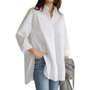 Damen Long Arm Top Shirt Hemd Baumwolle Linen Knopf Lässig Lose Tee Bluse Tunika, Weiß-2XL