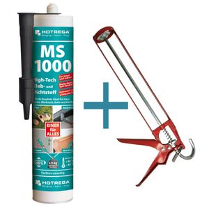 MS 1000 High Tech Kleb und Dichtstoff 290 ml schwarz SET + Kartuschenpresse