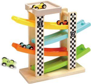 Kleinkindspielzeug für 1 2 Jahre alten Jungen und Mädchen Geschenke hölzerne Rennstrecke Auto Rampe Racer mit 4 Mini-Autos