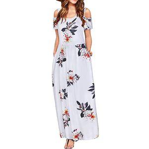 Frauen Sommer kalte Schulter Blumendruck Elegantes Maxi Langes Kleid Taschenkleid Größe:XL,Farbe:Weiß