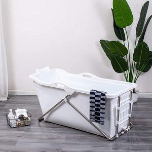 Faltbare Badewanne 128 x 60 x 53 cm mit Seifenkorb, Nackenkissen, Hocker, pPraktisch und tragbar (Weiß)