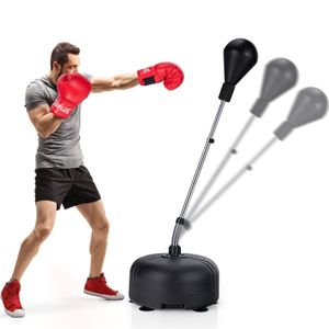 COSTWAY Punchingball 140-158cm höhenverstellbar, Boxsack Set freistehend, Standboxball mit befüllbarem Ständer, Boxset, Box Set inkl. Boxhandschuhe, geeignet für Kinder und Erwachsene