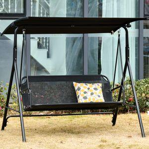 Outsunny 3-Sitzer Hollywoodschaukel Schaukelstuhl Outdoor Gartenliege UV-beständig Hochwertiges Metallrohr winkeleinstellbar Schwarz