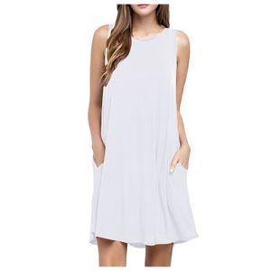 Frauen O Hals lässig Taschen ärmelloses Kleid über dem Knie Loses Partykleid Größe:XL,Farbe:Weiß