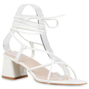 Mytrendshoe Damen Sandaletten Zehentrenner Naked Sandals Riemchensandalen 833323, Farbe: Weiß, Größe: 39