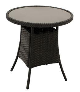 DEGAMO Beistelltisch Bistrotisch VARESE 60cm rund, Geflecht schwarz, Platte Glas