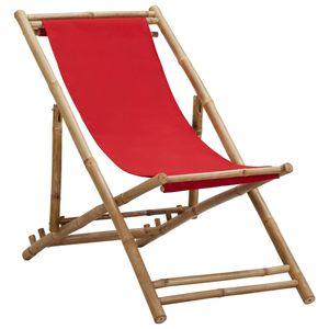 Modern Liegestuhl Bambus,Gartenstühle,Garten-Liegestühle,Gartenliege,Sonnenliege, und Segeltuch Rot🌵1520