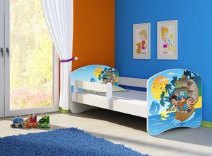 Kinderbett, Babybett 70x140, 80x160, 80x180cm Juniorbett, Kind, Motiv, Schublade CLAMARO, Bett Farbe:21 Piraten, Ausführung:Ohne Bettkasten, Bett Größe:160 x 80 cm