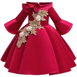 Mädchen Langarm Off Shoulder Blumen Stickerei Kleid Bowknot Prinzessin Kleid Partykleid 5-6 Jahre (110-116) Weinrot