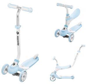 Kinder-Roller mit Abnehmbarem Sitz 5in1 - Dreirad, Kick-Scooter, Laufrad für Kleinkinder Faltbar in Blau