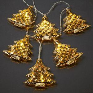 Lichterkette LED Deko Beleuchtung goldene Tannenbäume Innen 6h-Timer Batterie