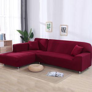 Sofa Überwürfe 2 teilig 3 Sitzer + 3 Sitzer, Elastisch Stretch Sofabezug L Form 2er Set mit 2 Stück Kissenbezug Sofabezüge Sofa Überzug Couch Bezug Sofaüberwurf L Form Sofa Abdeckung (Rot,,L Form 3 Sitzer + 3 Sitzer )