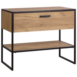 Waschbeckenunterschrank Industrial-Design MANHATTAN-56 in Gold Craft Oak/schwarz B/H/T ca. 90/75/50cm