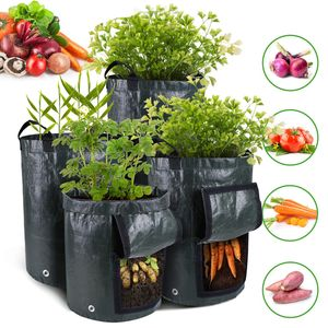 5 Stück Pflanztasche Kartoffel Tomaten Erdnüsse Pflanzsack PE-Stoff Atmungsaktiv Dauerhaft Pflanzbeutel mit Tragegriffen und Sichtfenster Beutel Gemüse Pflanzkasten (3 Gallon, Grün)