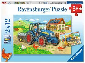 2 x 12 Teile Ravensburger Kinder Puzzle Baustelle und Bauernhof 07616
