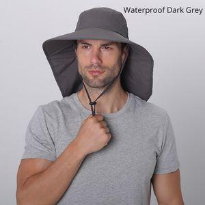 Sommer Sonne Hut Männer Frauen Baumwolle Boonie Hut mit Hals Klappe Außen UV Schutz Große Breite Krempe Wandern Angeln Safari eimer Hut